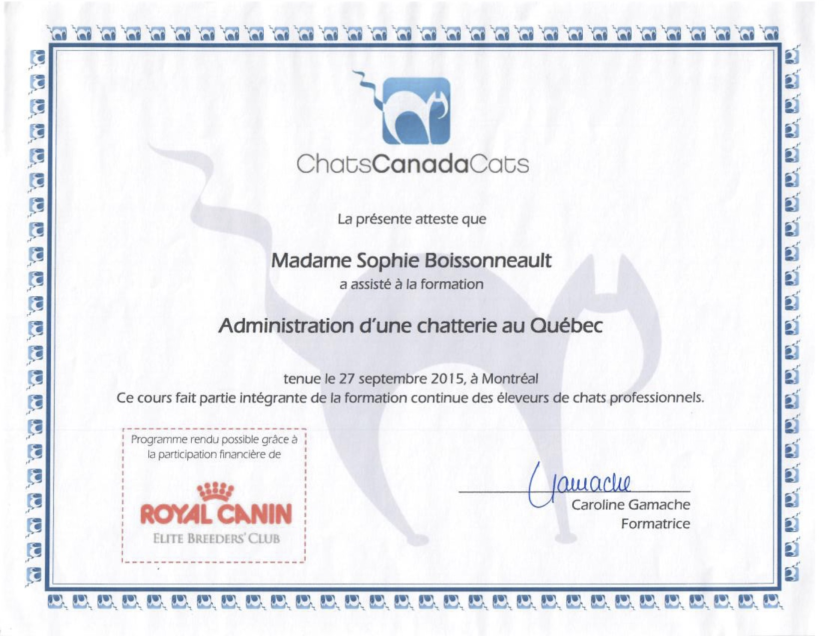 Certificats CCC - Administration d'une chatterie