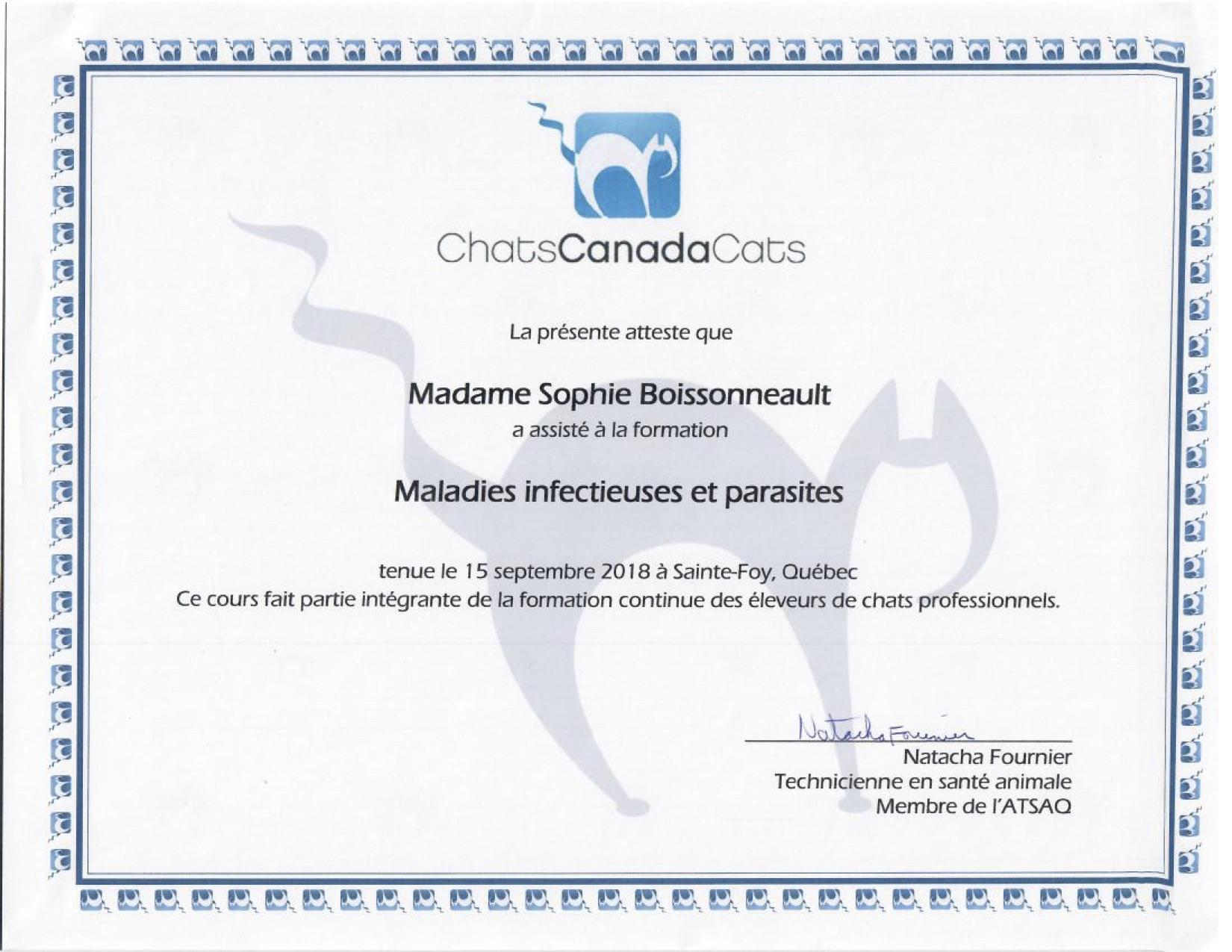Certificats CCC - Maladies Infectieuses et parasites