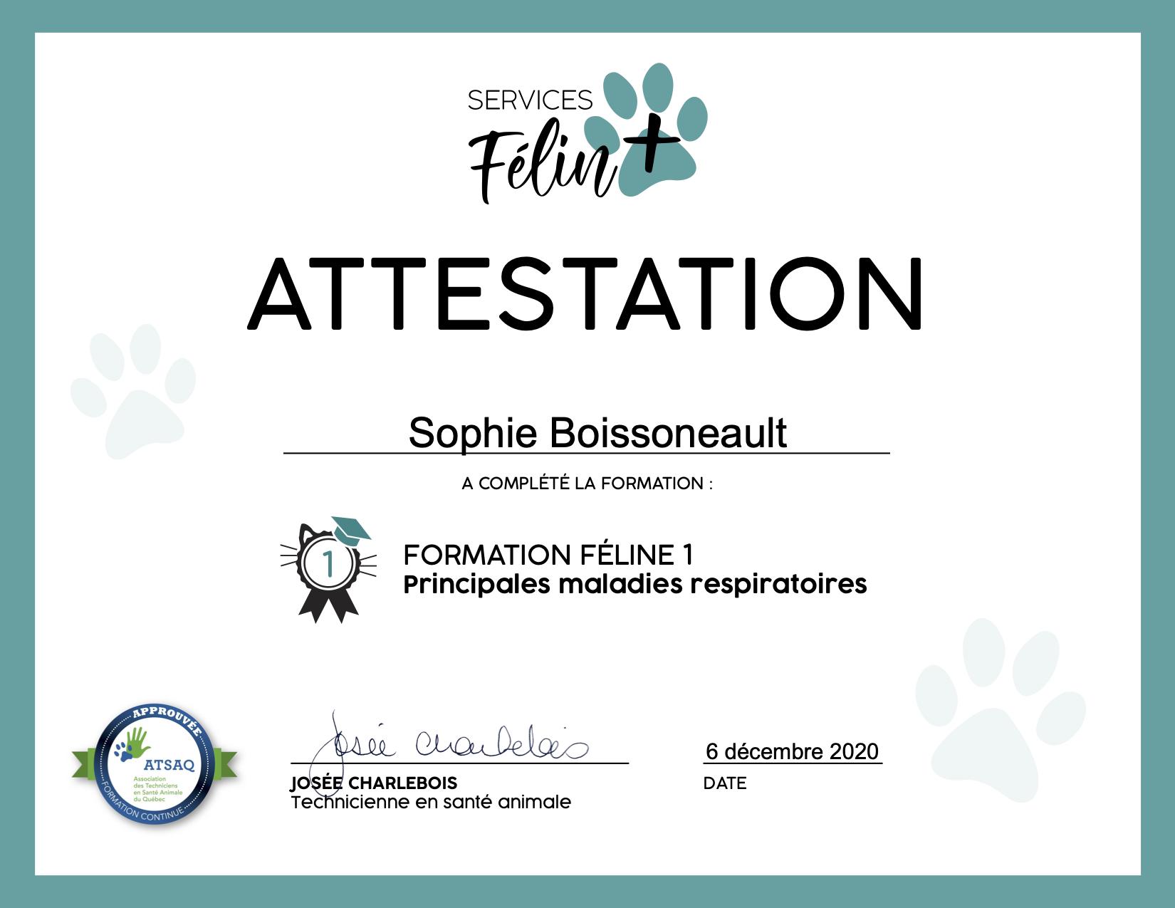 Certificat - Service Félin Plus FF1